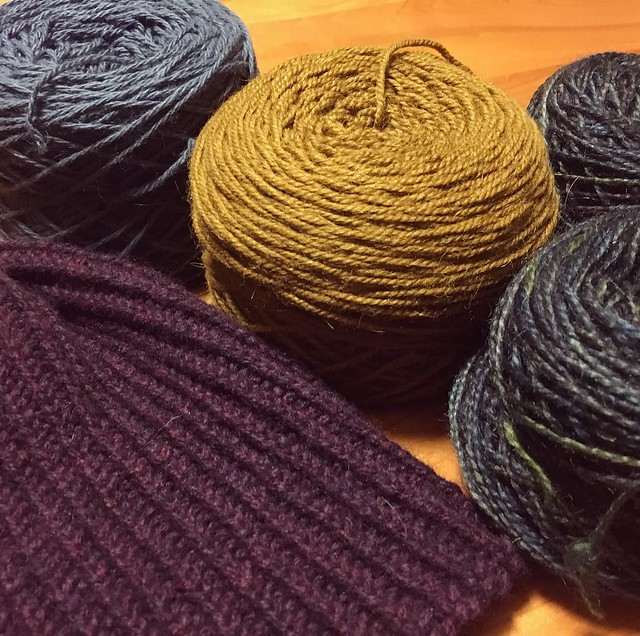 After sunshine yellow, this is my color palette 🎨. One hat down, three more to go. #knitting
