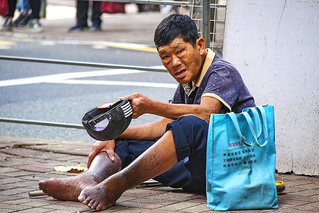 Beggar in Central--Hong Kong