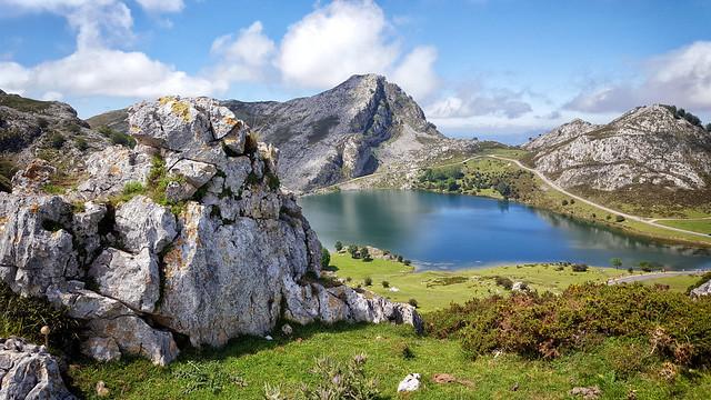 Lake Enol, one of the Lakes of Covadonga in Asturias, Spain