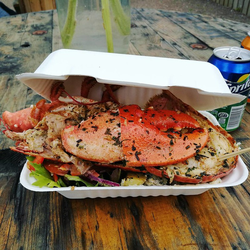 this is a picture of lobster served fresh at the seafood shack in ullapool