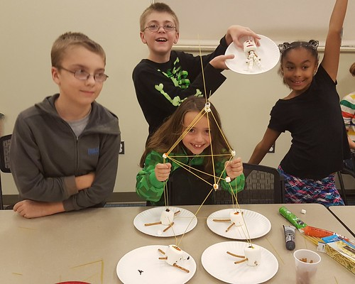 Calvert Library posted a photo:Theme: Structure. Kids built tall towers and made their own skeletons.