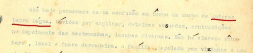 Detalhe do fac-símile das duas primeiras páginas de A morte e a morte de Quincas Berro Dágua, grifos (em vermelho) meus.