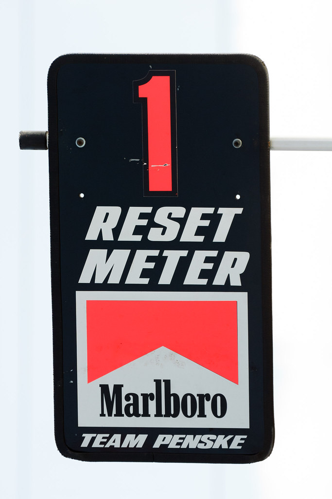 The sign that would be held out for Team Penske driver Gil de Ferran as he pulled into the pits at the 2001 CART race in Portland