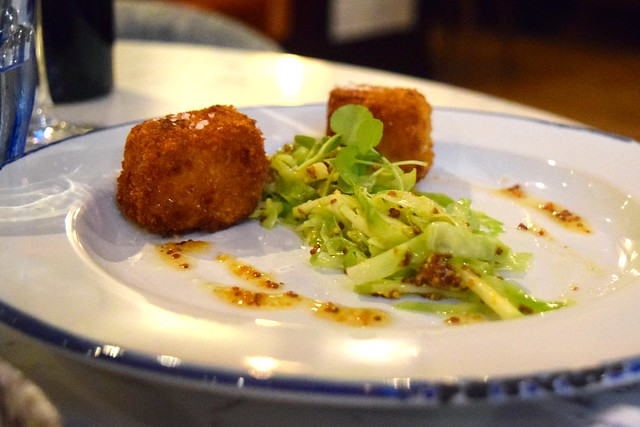 Pork Belly Fritters with Sweetheart Cabbage at The Pickled Hen, Marylebone | www.rachelphipps.com @rachelphipps