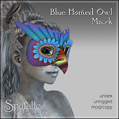 Spyralle Blue Horned Owl Mask
