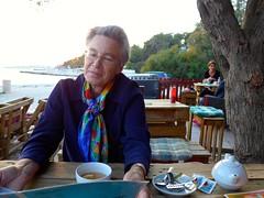 Catherine having tea in one of waterfront cafes in Split, Croatia