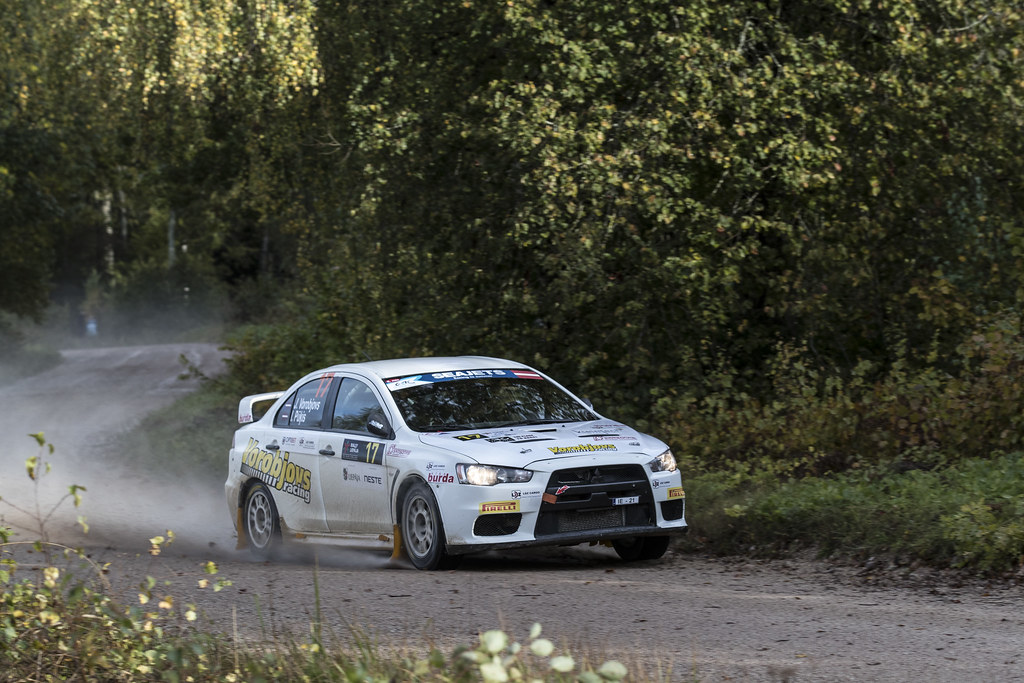 17 Vorobjovs Janis and Pukis Ivo, Mitsubishi Lancer Evo X action during the 2017 European Rally Championship ERC Liepaja rally,  from october 6 to 8, at Liepaja, Lettonie - Photo Gregory Lenormand / DPPI