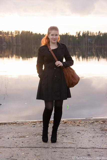 OOTD Päivän Asu Hapsulaukku Ompelimo Rokita Trenssi musta trenssitakki bloggaaja
