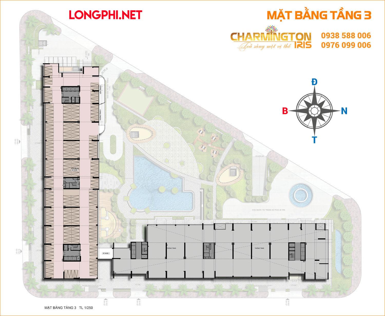 Mặt bằng tầng 2 dự án căn hộ Charmington Iris 76 Tôn Thất Thuyết, quận 4.