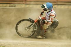 Unknown rider overcomes the track