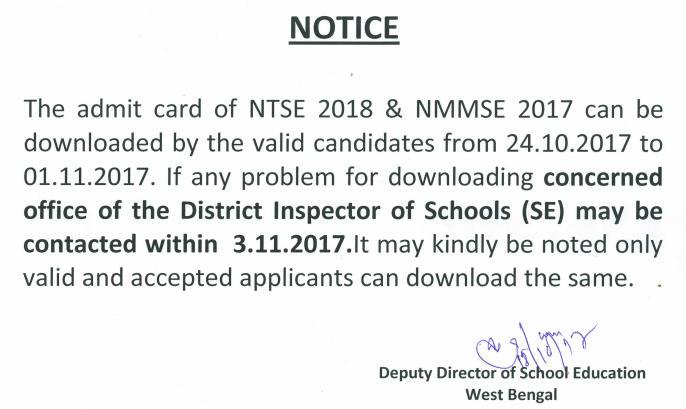 NTSE Admit Card Notification
