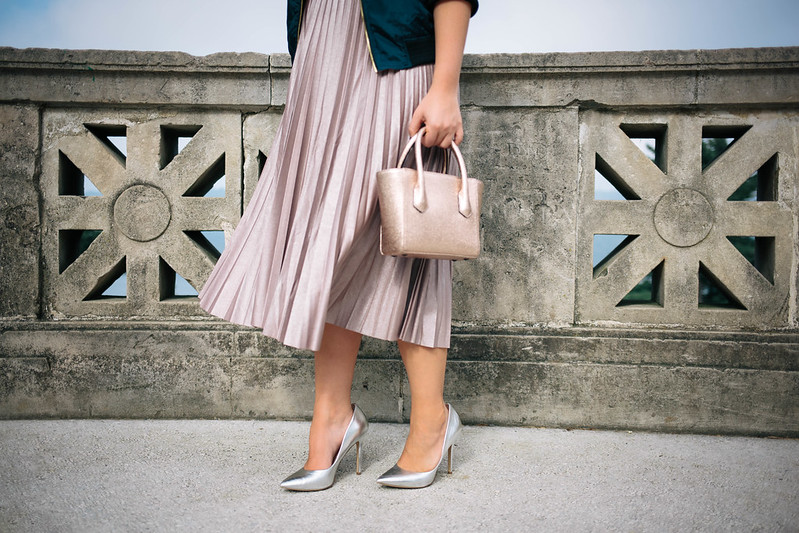 Metallic Blush Pleated Midi Skirt Dagne Dover Metallic Rose Gold Mini Tote Silver High Heels Holiday Fashion Style Outfit