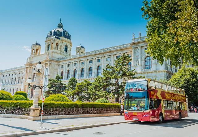 Tourist bus parked in Vienna