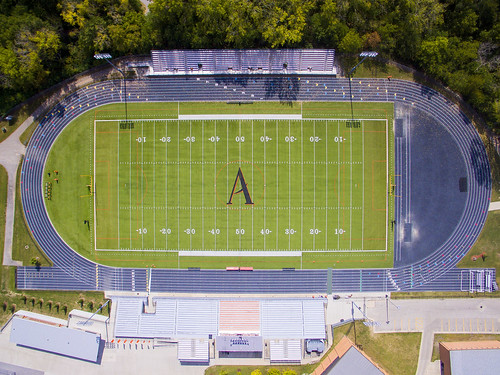 Ames High School Football Stadium Straight Down view photos courtesy of Kevin Michael Snyder Photography AHS 1977 taken Sat Sep 23 2017 via drone after AHS tour by Kevin Michael Snyder AHS class of 1977