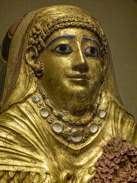Closeup of Roman Period Gilded Gesso Mummy Cartonnage of a Woman Hawara (possibly) Egypt 1st century CE