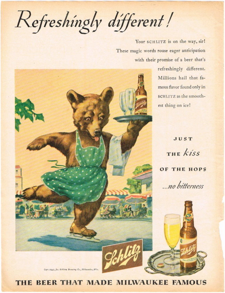 Schlitz-1945-skating-bear