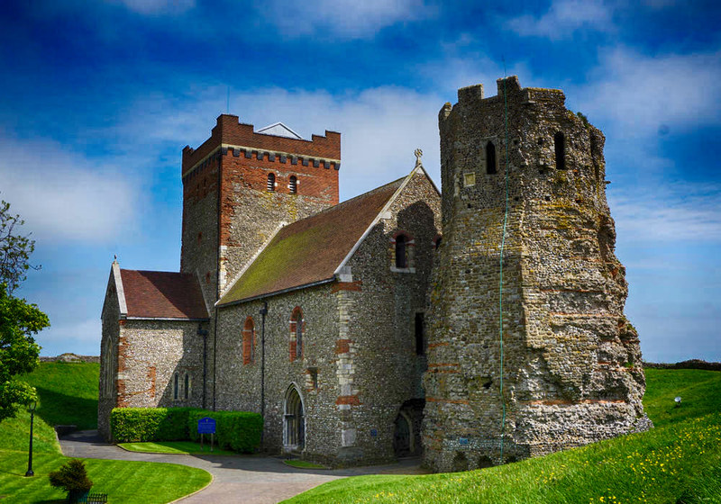 The Roman Lighthouse and Church of St Mary in Castro, Dover Castle. Credit Nessy-Pic