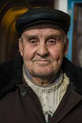 Ukraine. The portrait of a man receiving medical aid