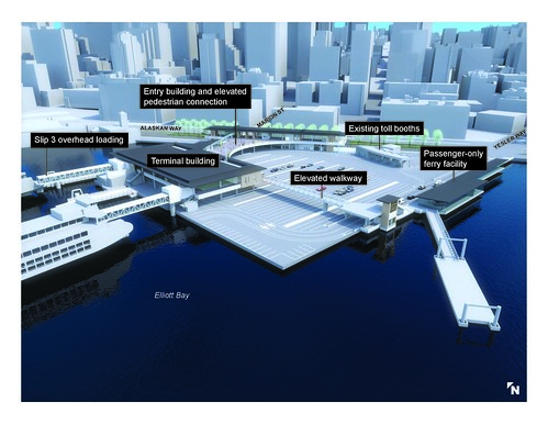 Visualization of the new multimodal terminal at Colman Dock