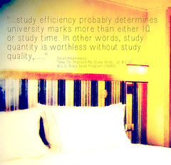 """Educational Postcard:  """"...study efficiency probably determines university marks more than either IQ or study time. In other words, study quantity is worthless without study quality,....."""""""