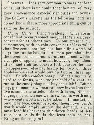 Coppers Boston Daily Transcript, Sept 4, 1845