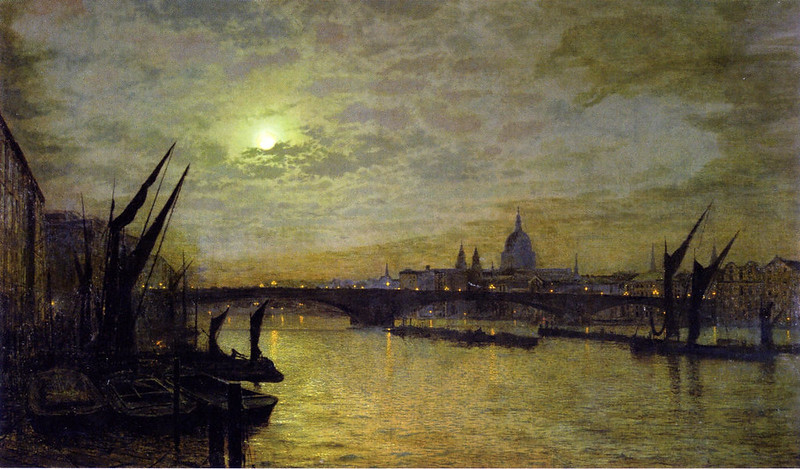 The Thames by Moonlight with Southwark Bridge, London by John Atkinson Grimshaw, 1884