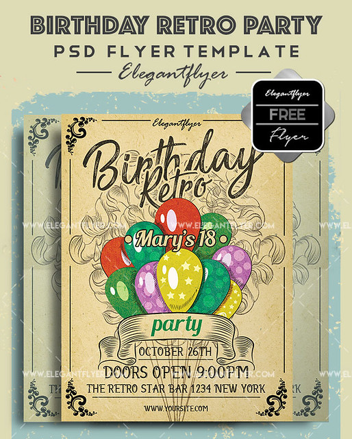 Birthday Retro Party- Free Flyer PSD Template + Facebook Cover