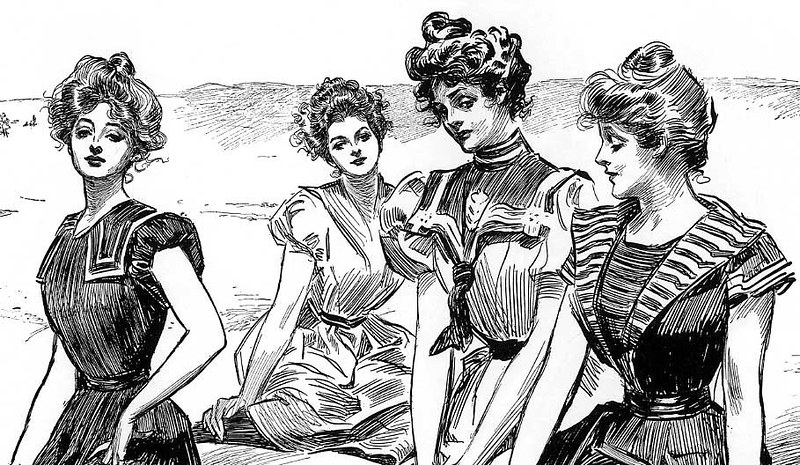 Gibson Girls in beach attire by Charles Dana Gibson, 1898
