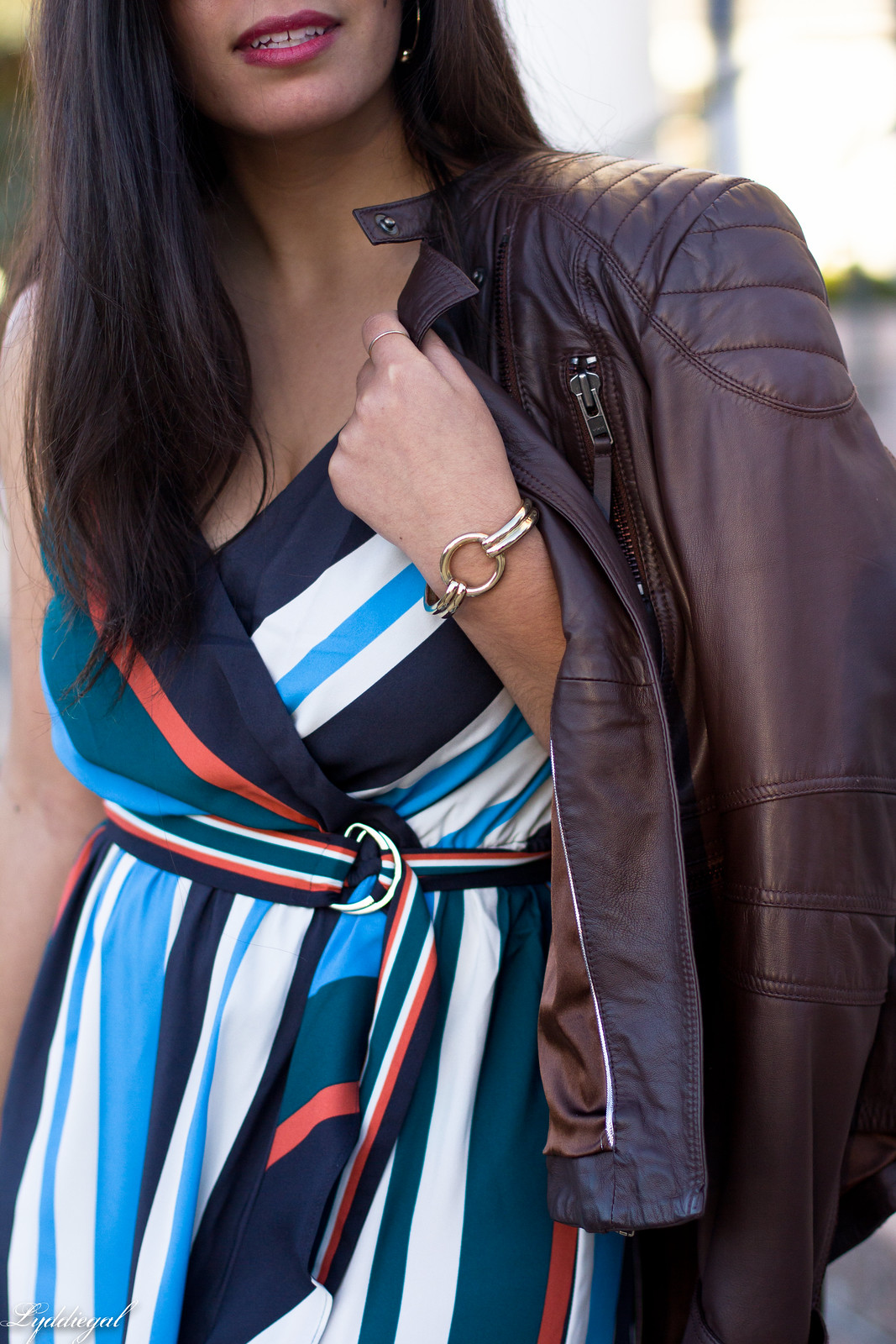 striped midi dress, leather jacket, mules, foldover clutch-13