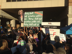 chalkboard and report card at Betsy DeVos Rally with Equity in Education CoalitionIMG_1900 HQ