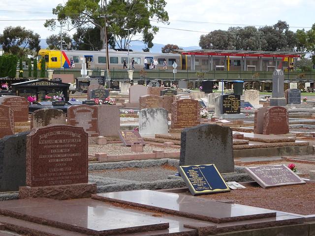Salisbury. Chidda Railway Station and suburban train beside Spains Road cemetery.