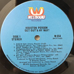 HOUSTON PERSON:GET OUT'A MY WAY!(LABEL SIDE-A)