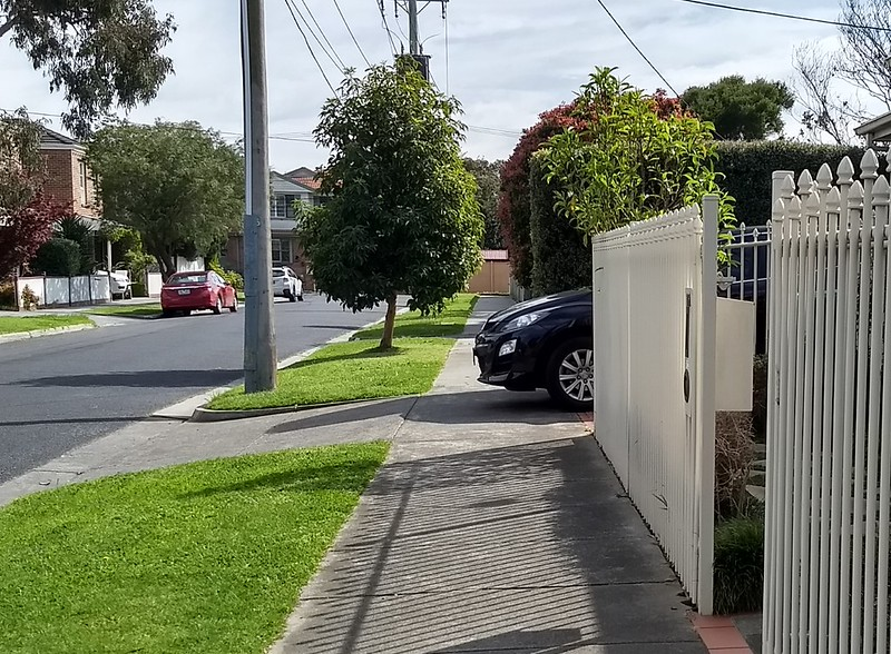 Parked car blocking footpath