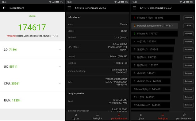 Hasil pengujian Mi MIX 2 menggunakan aplikasi AnTuTu Benchmark (Liputan6.com/ Agustin Setyo W)