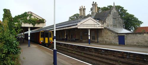 East Midlands Trains diesel multiple unit number 156411 at Worksop railway station