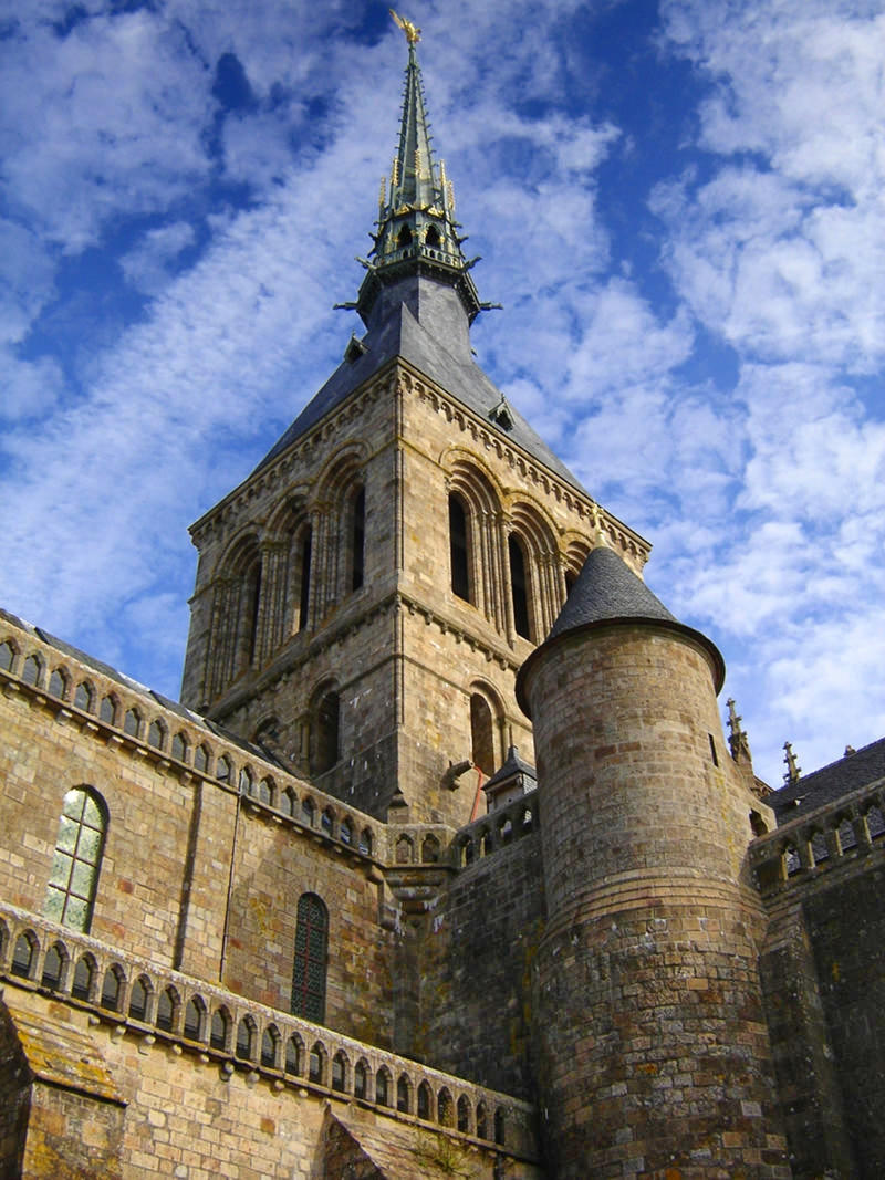Spire of the abbey on Mont Saint-Michel in Normandy France