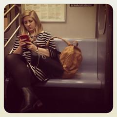 Wednesday night F train. #nycsubwayportraits #nyc #train #subway #metro #publictransportation #commute #passenger #stranger #ftrain