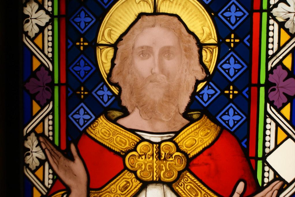 Vitraux de Jésus dans la crypte de la cathédrale de Glasgow.