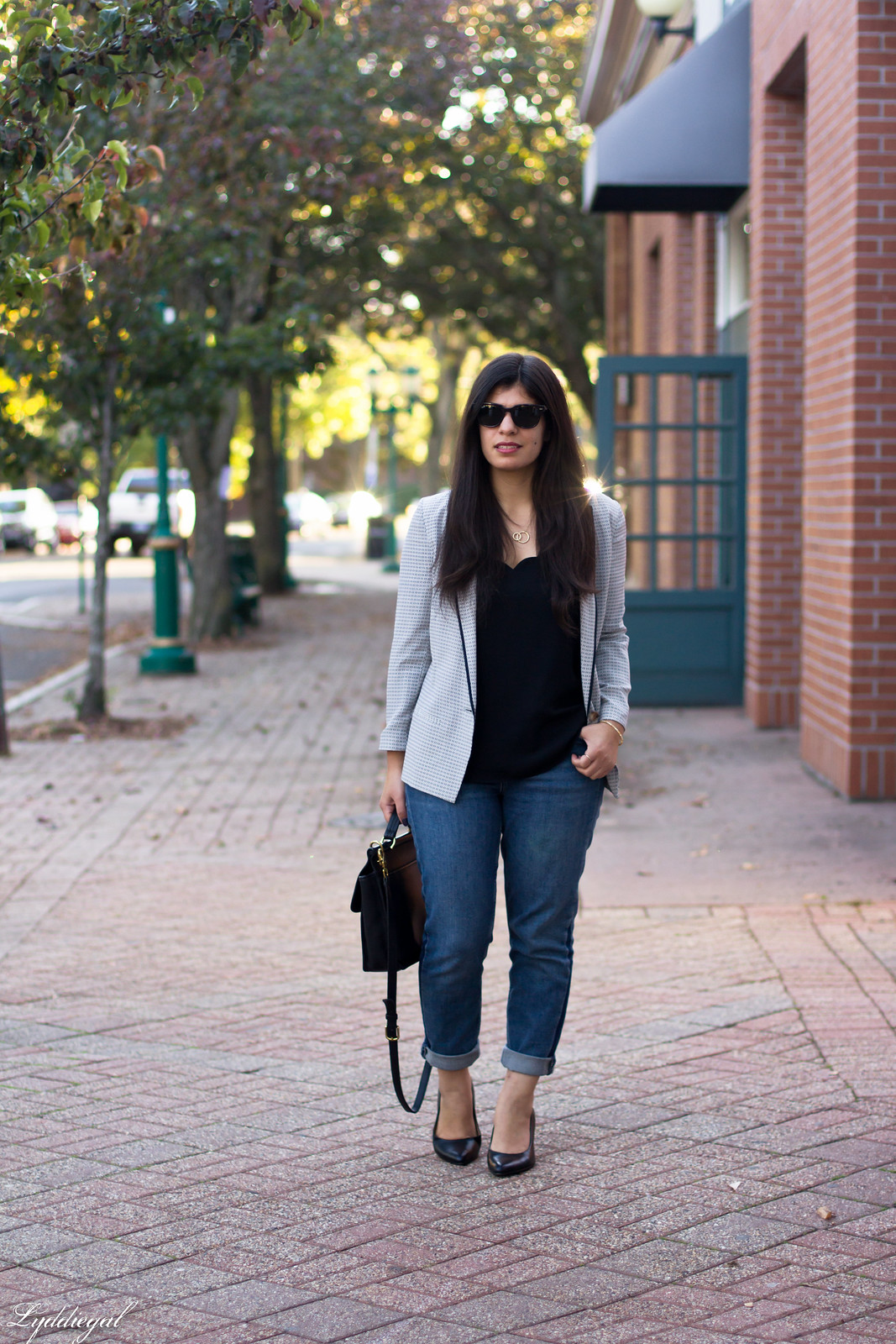 silk printed blazer, scalloped cammi, boyfriend jeans-1