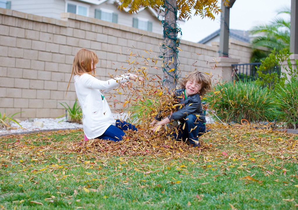 playing in fall leaves