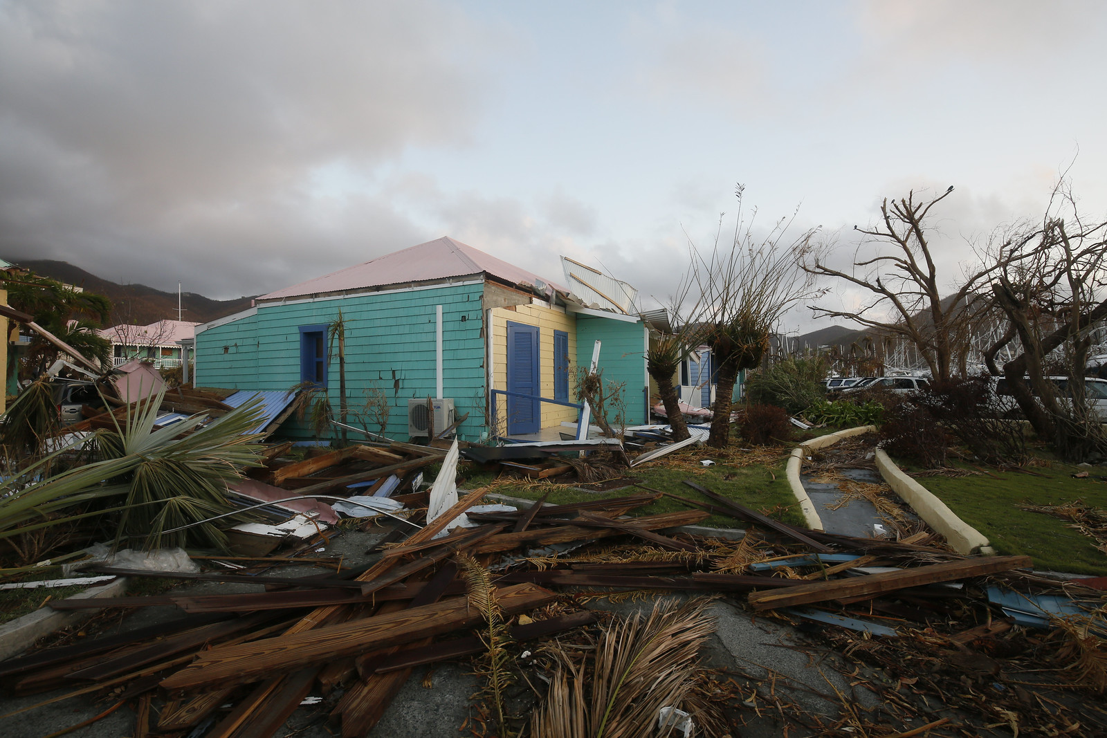 Damage to buildings caused by Hurricane Irma in Nanny Cay on the British Virgin Island of Tortola. The Caribbean island suffered widespread damage and destruction when Hurricane Irma passed over on 6 September 2017.