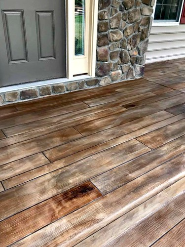 Rustic Concrete Wood Porch Entry and Stone Wall- Raleigh, NC