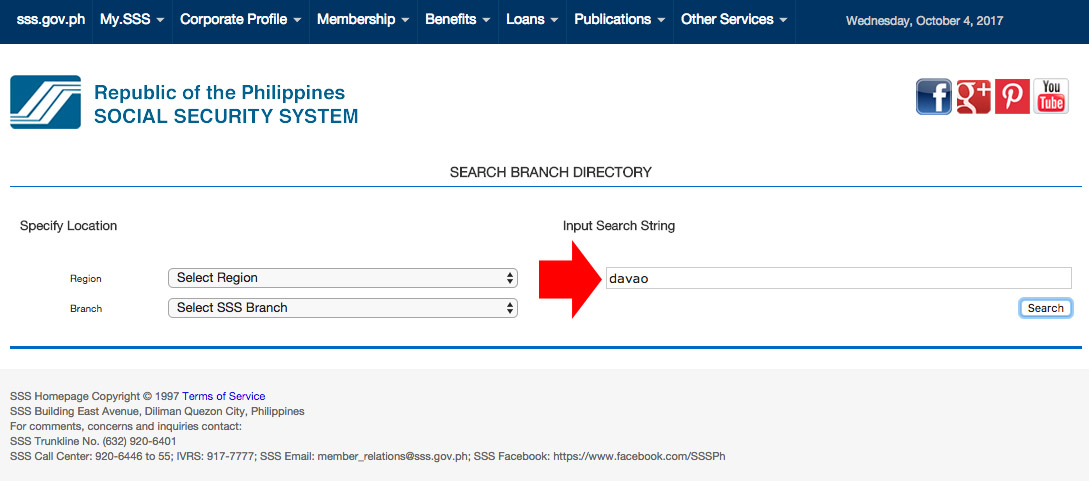 SSS Brach Directory Search