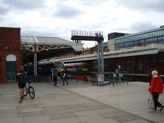 Two diesel multiple unit trains in Nottingham railway station