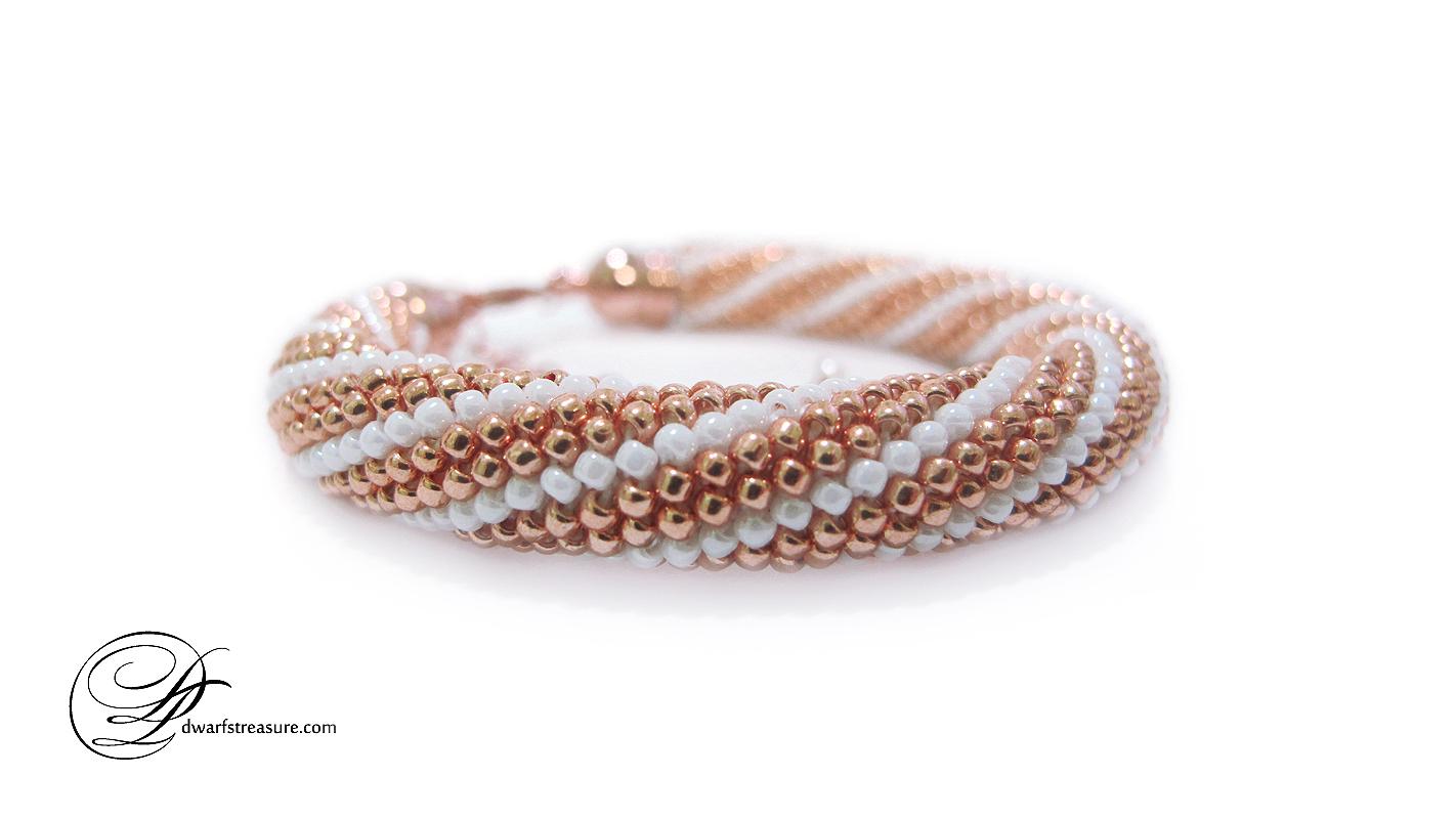 Dwarfs\' Treasure: #009 Rose-Gold & White Striped Beaded Crochet Bracelet