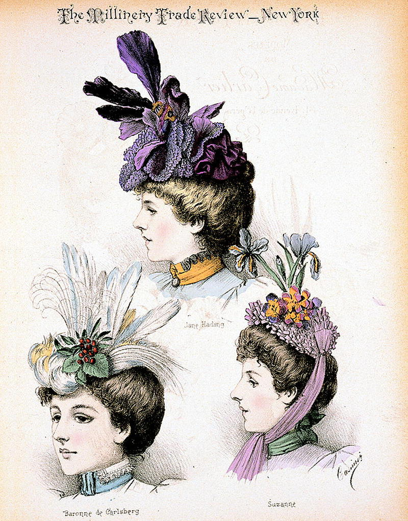 Fashion plate showing three bust portraits of Jane Harding, Baronne de Carlsberg, and Suzanne, actresses at the Gymnase theater, Paris, wearing hats designed by Madame Carlier