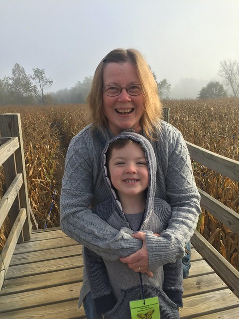 Grandma and Jack at the corn maze