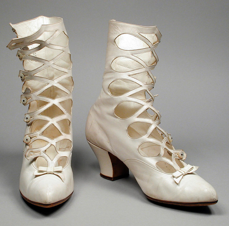 1895 Women's Wedding Boots. Kid leather with sueded leather and pearls