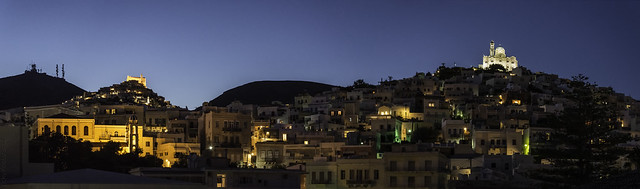 Nighttime moving softly over Hermoupolis