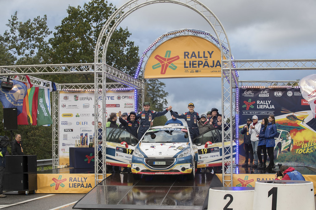 Mares Filip and Hlousek Jan, ACCR Czech Team, Peugeot 208 R2 ERC Junior U27 ambiance portrait podium during the 2017 European Rally Championship ERC Liepaja rally,  from october 6 to 8, at Liepaja, Lettonie - Photo Gregory Lenormand / DPPI